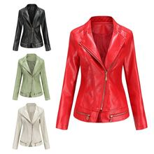 Новинка; Женские кожаные куртки и пальто с отложным воротником