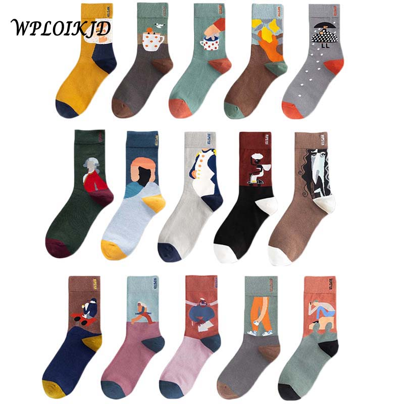 [WPLOIKJD]Creative  Illustrations Lovely Graffiti Cotton Funny Socks New Product Spring Summer Cartoon Couple Socks Skarpetki