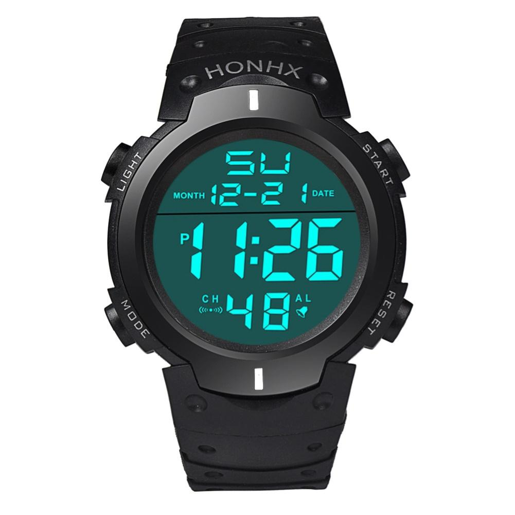 HONHX Unisex Electronic Watch Men Women Students Adjustable Strap Backlight Big Dial Sports Digital Wristwatch Relogio-masculino