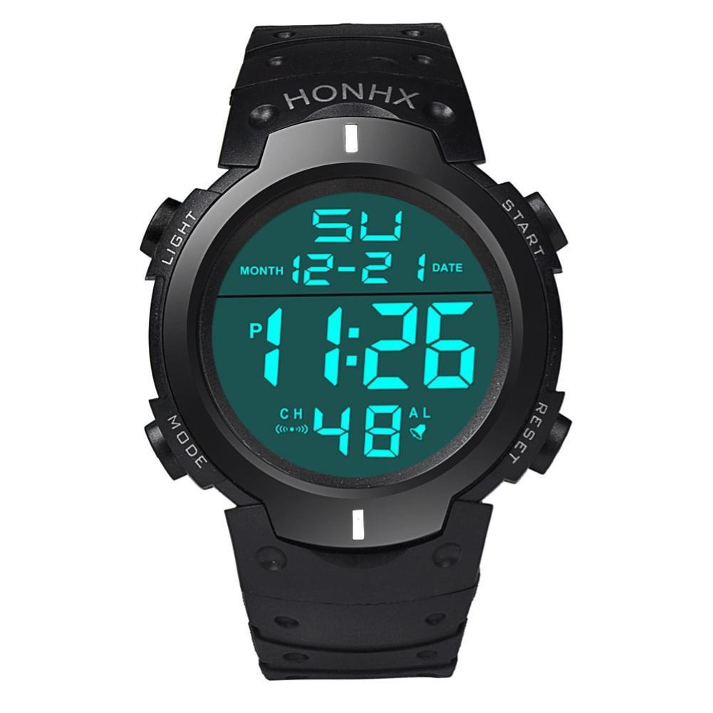 HONHX Unisex Electronic Watch Men Women Students Adjustable Strap Backlight Big Dial Sports Digital Wristwatch Relogio-masculino