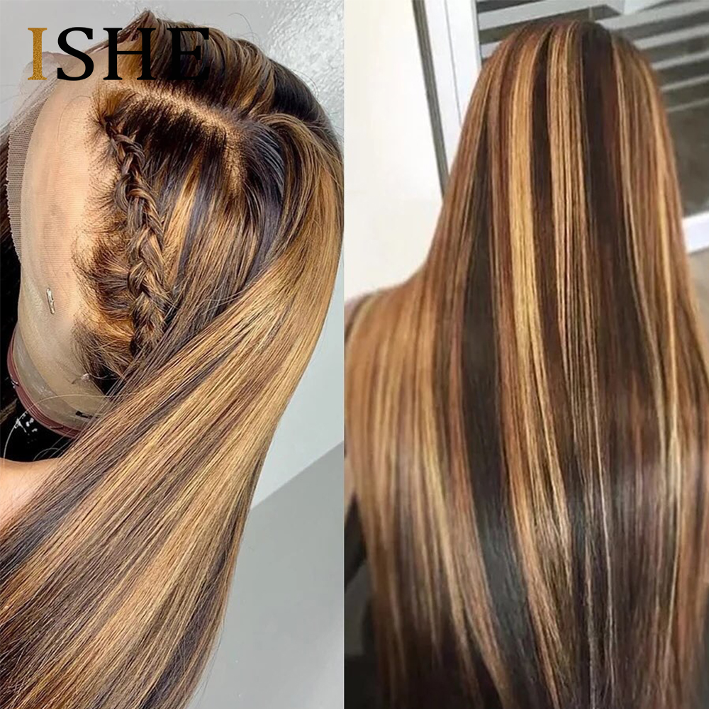 Ombre Highlight Human Hair Wig Brown Honey Blonde Colored 13x6 Lace Front Wigs For Black Women Straight Lace Front Wig Remy Hair