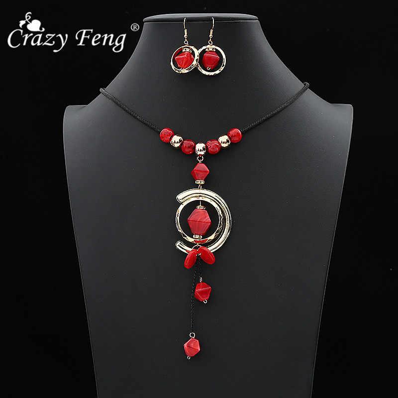 Mode Acryl Stein Schmuck Set Vintage Quaste Anhänger Halsketten Ohrringe Set für Frauen Afrikanische Böhmischen Schmuck Geschenke