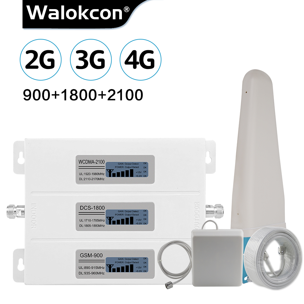 Walokcon Tri Band Cellular Repeater 900/1800/2100 GSM DCS WCDMA 2G 3G 4G LTE Signal Booster 1 Cellphone Amplifier Set