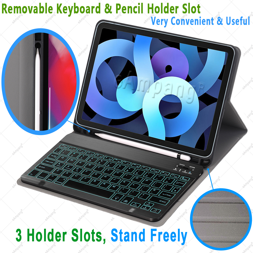 4th Cover Russian iPad for A2324 10.9 Case 2020 4 A2072 Air Keyboard Colors 7 Backlit
