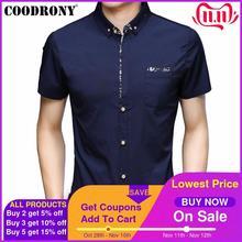 Coodrony camisa masculina de manga curta com bolso 2019 verão legal camisa masculina roupas marca negócios camisas casuais chemise homme s96035