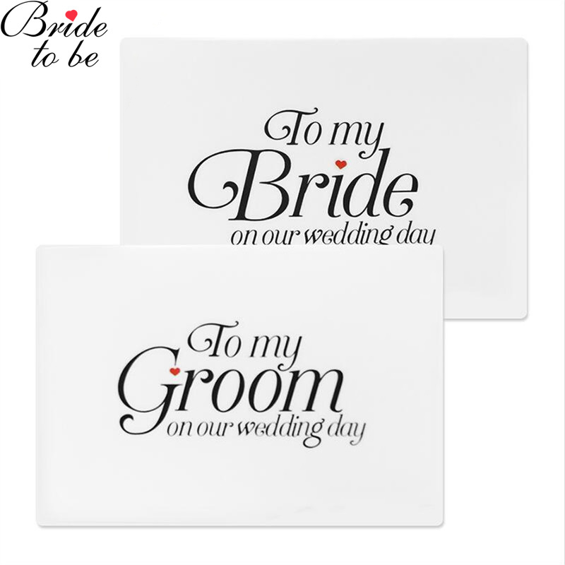 Team Bride 2 PCS Wedding Favors Bride And Groom Wedding Favor Vows Cards Wedding Day Foiled Card Set, To My Bride, To My Groom