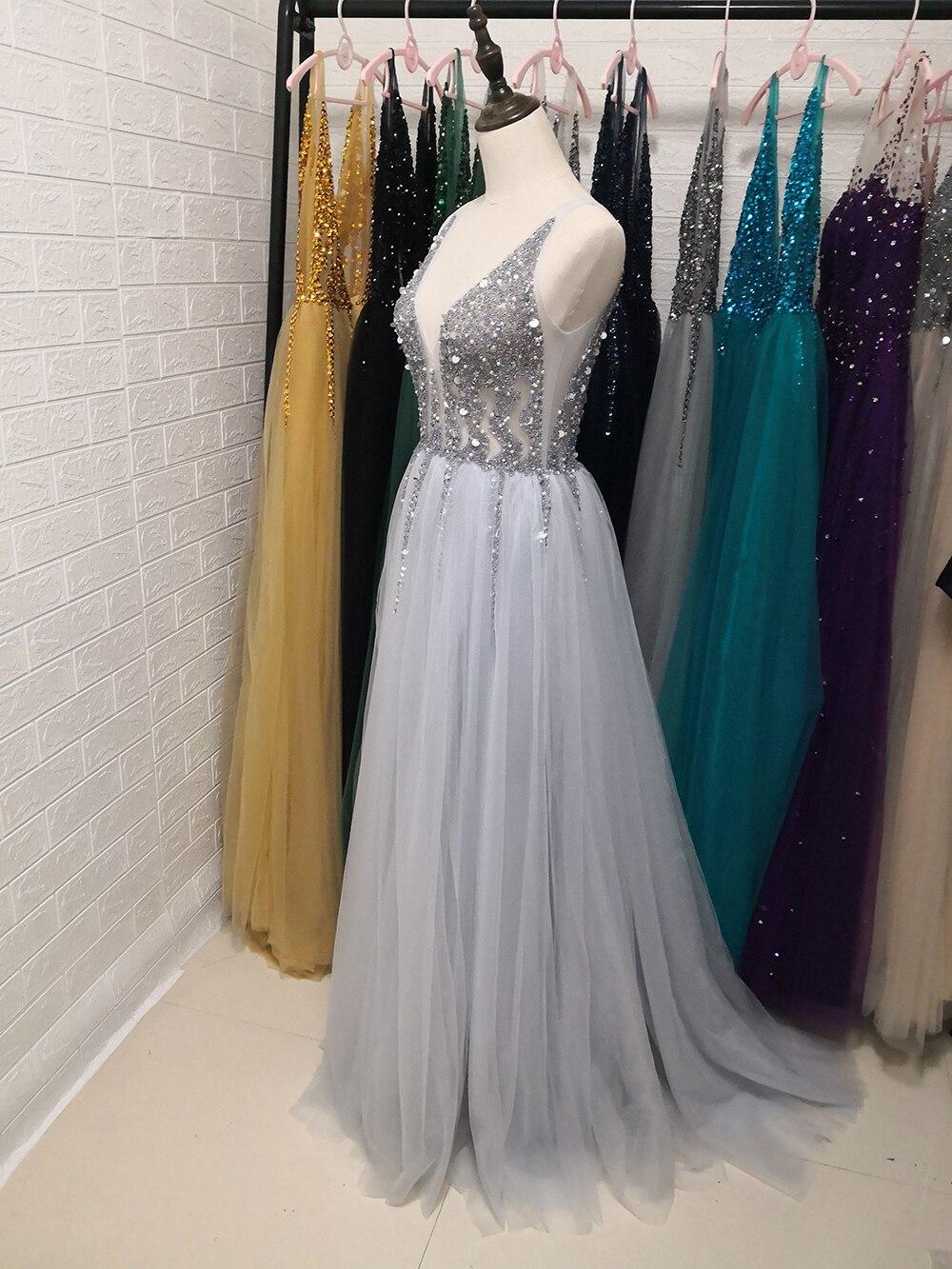 Сексуальное длинное вечернее платье с глубоким v-образным вырезом и разрезом сбоку, Новое поступление года, блестящее платье с высоким разрезом и открытой спиной, Abendkleider Lang - Цвет: Серебристый