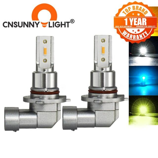 CNSUNNYLIGHT H11 H8 samochodowe światła przeciwmgielne LED żarówki H9 H16 9005 9006 2400Lm 6000K biały 1900K żółty 8000K niebieski Auto DRL Foglamp 2 sztuk