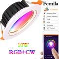 Wifi умный светодиодный светильник с регулируемой яркостью RGB + CW 10 Вт Светодиодный точечный 220 В/110 В потолочный светильник Встраиваемый свети...