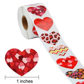 500pcs/roll Heart Shaped Love Seal Stickers Scrapbook Gift Packaging Birthday Party Supplies Stationery Album Decal Decor image