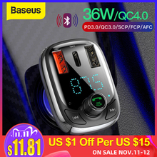 Baseus Quick Charge 4.0 Car Charger with FM Transmitter Bluetooth Handsfree FM Modulator PD 3.0 Fast USB Car Charger For iPhone