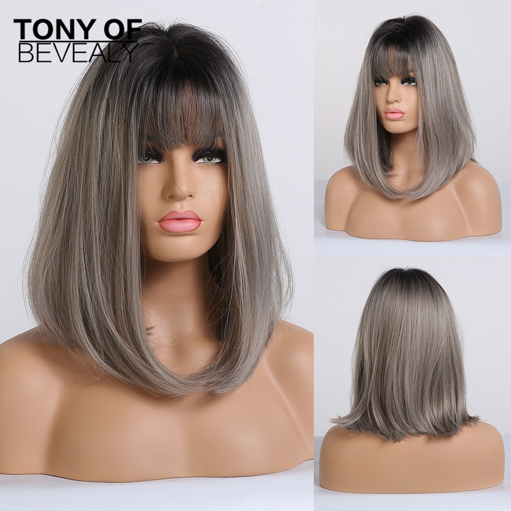 Medium Length Straight Synthetic Wigs Black To Grey Ombre Hair With Bangs For Afro Women Cosplay Heat Resistant Natural Wigs