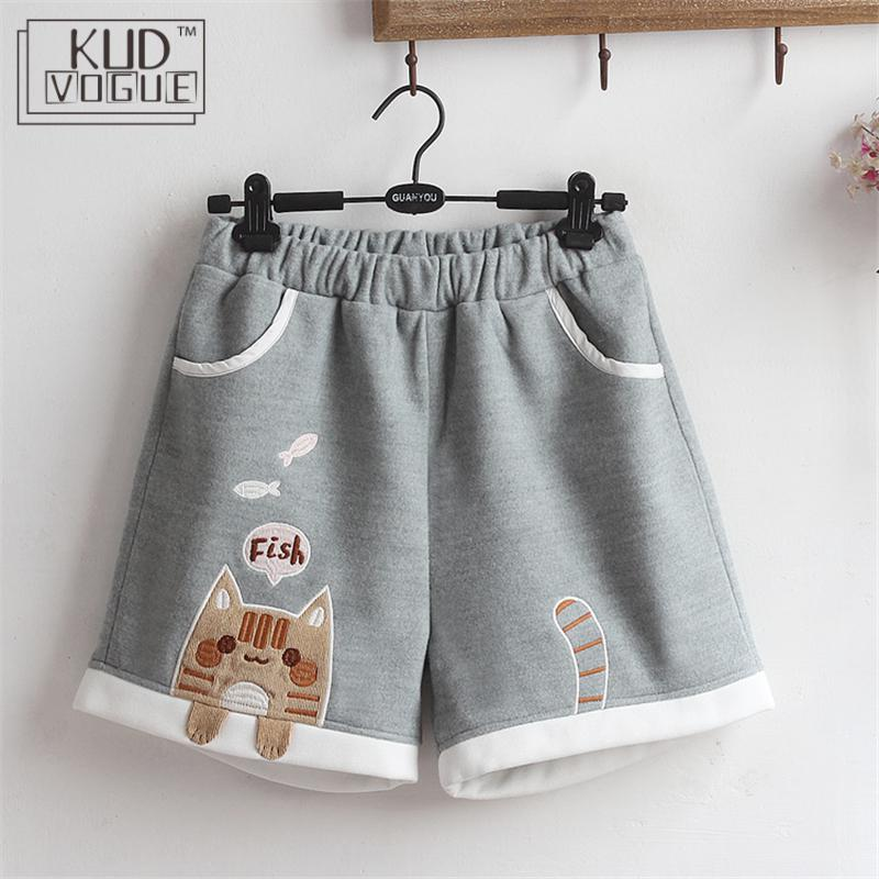 Lolita Women's Winter Shorts Japanese Style Kawaii Girl Cute Cat Tail Autumn Casual Short Pants Vintage Embroidery Woolen Shorts