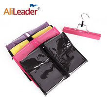 Alileader Nonwoven Dustproof Storage Case Portable Hair Bag With Extension Wooden Double Anti-Slip Hanger For Human Hair Bundles(China)