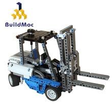 Buildmoc técnica motor de potência personalizado empilhadeira mk blocos de construção conjunto de tijolos educacional crianças moc 0640 modelo de empilhadeira para childr