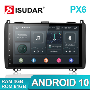 цена на Isudar PX6 1 Din Android 10 Auto Radio For Mercedes/Benz/Sprinter/Viano/Vito/B-class/B200/B180 Car Multimedia DVD Player GPS FM