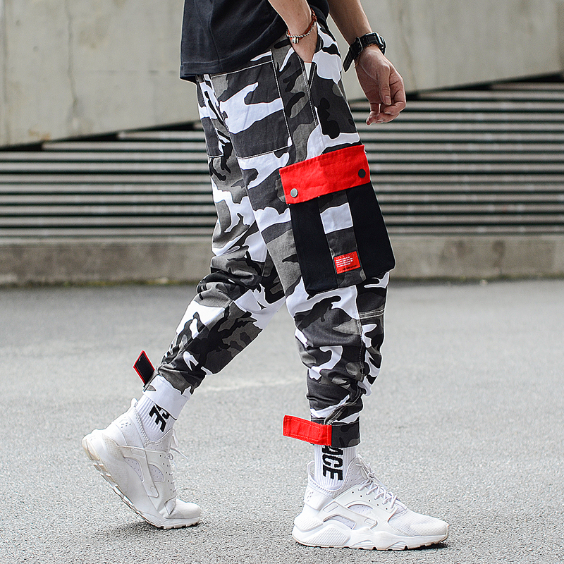 Fashion Streetwear Men Jeans Loose Fit Camouflage Military Harem Trousers Spliced Pockets Cargo Pants Hip Hop Joggers Pants Men