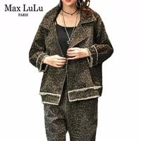 Max LuLu 2019 Korean Fashion Ladies Leopard Two Pieces Set Womens Vintage Denim Tops And Harem Pants Casual Streetwear Plus Size