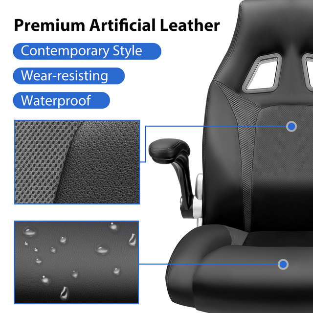 Furgle Office Chair Racing Chair Sports Seat Gaming chair with Footrest Artificial Leather Height-Adjustable Desk Chair 4