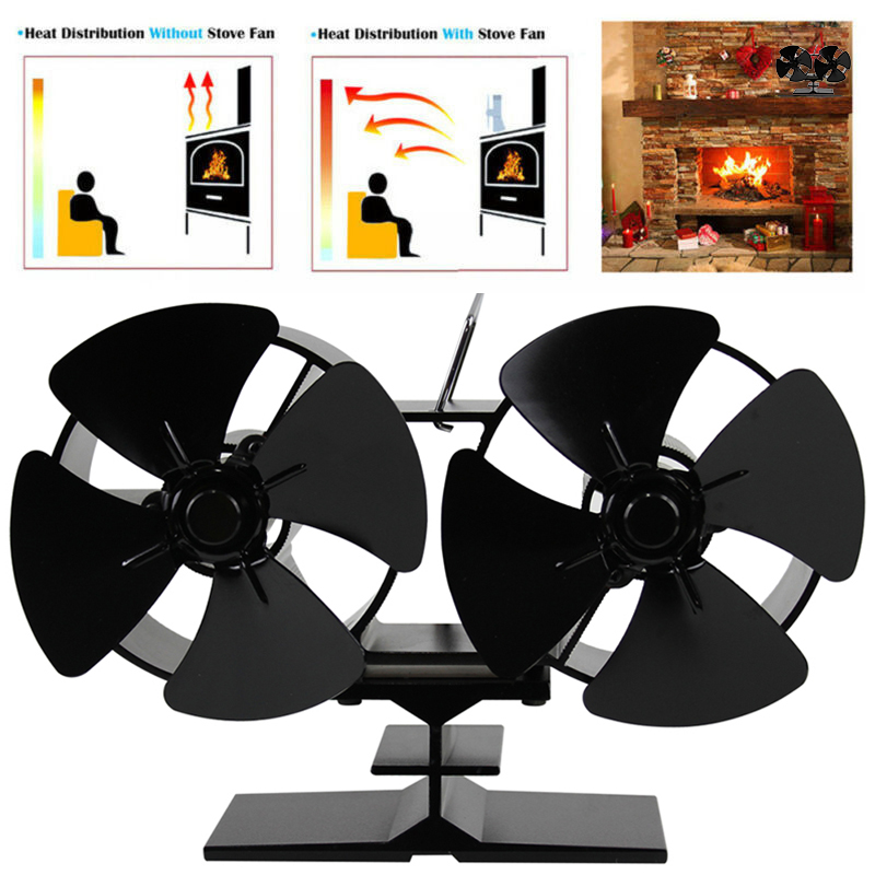 8 Blades Stove Fans Black Double Motor Burner Heat Powered Heating Cooling And Vents Living Room Fireplace Logs Woods