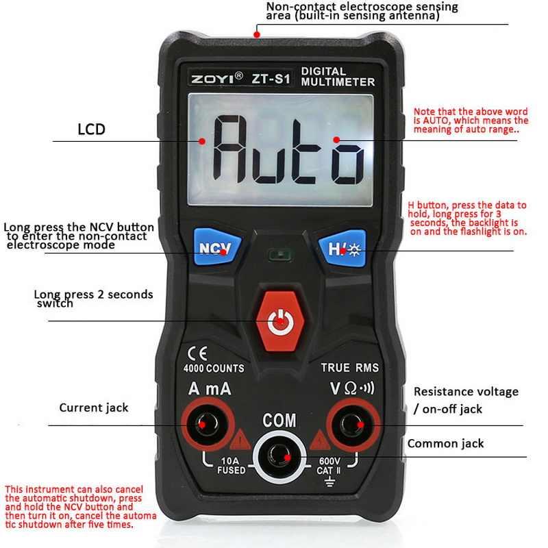 ZTS1 LCD multimètre numérique Portable Portable testeur ca/cc poche tension mètre multitesteur courant ohmmètre mètres testeur outils