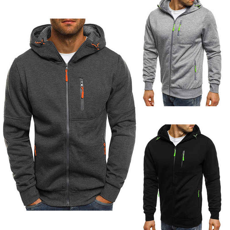 Men Plain Hoodie Coloured Hooded Pullover Jacket Men Warm Solid Sport Sweatshirt