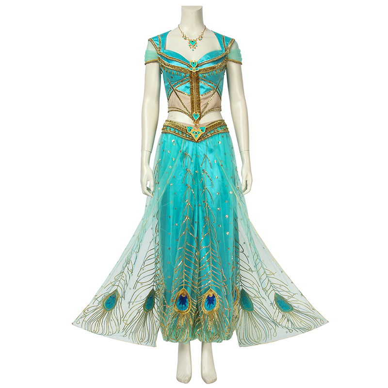 2019 Indian Movie Aladdin Costume Princess Jasmine Cosplay Fancy Dress Props Adult Women Halloween Carnival Outfit Custom Made