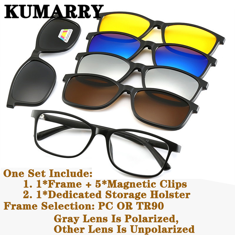 KUMARRY NEW <font><b>Magnetic</b></font> <font><b>5</b></font>+<font><b>1</b></font>/6pcs/1set Polarized <font><b>Sunglasses</b></font> <font><b>Men</b></font>/Women <font><b>Clip</b></font> <font><b>On</b></font> PC/TR90 Frame Driving Sun Glasses Shades With Holster image