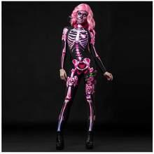 Adulto mulher halloween esqueleto cosplay macacão rosa sexy crânio assustador traje 3d impressão bodysuit