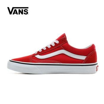 Original Vans Old Skool Shoes Men Women Racing Red VN0A4BV5JV6 Sneakers Unisex Skateboarding Vans Shoes Men original new arrival vans x peanuts men s