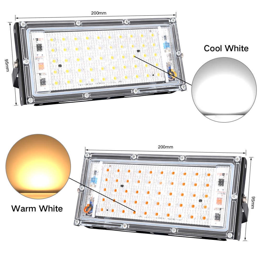 RGB LED  Floodlight Outdoor Spotlight 50W Wall Washer Lamp Reflector IP66 Waterproof Lighting Garden Flood Light AC 220V