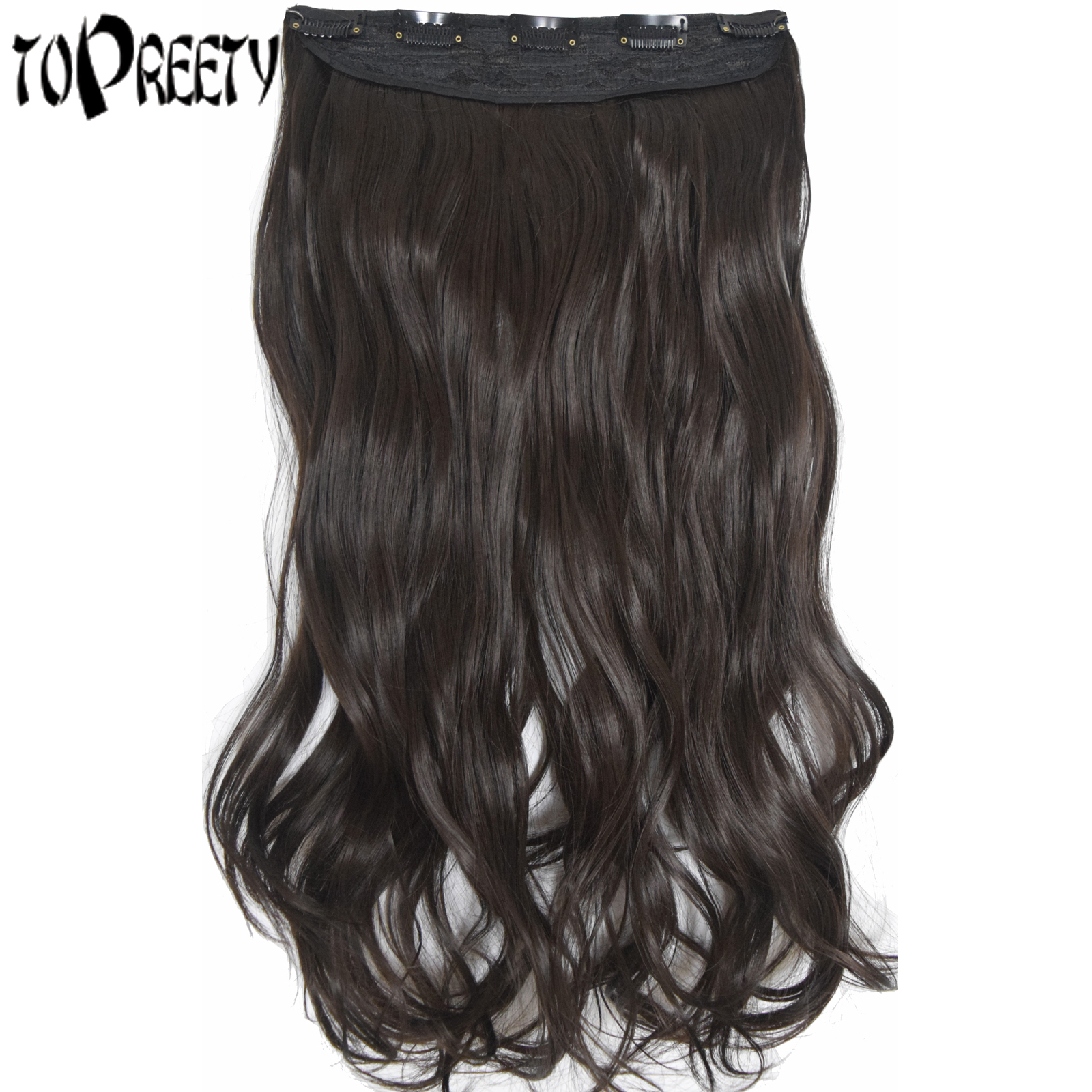 Heat Resistant Synthetic Fiber 120gr Wavy 5 Clips On Clip In Hair Extensions 5002
