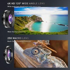 Image 3 - APEXEL 2020 nouveau Kit dobjectif de caméra de téléphone HD 4in1 téléobjectif Zoom monoculaire télescope 22X Macro large objectif Fisheye avec trépied à distance