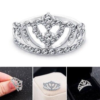 ¡Novedad de 2020! Anillos de cristal con forma de corona de diamantes de imitación para mujer y niña, anillo de boda, anillo de boda, joyería