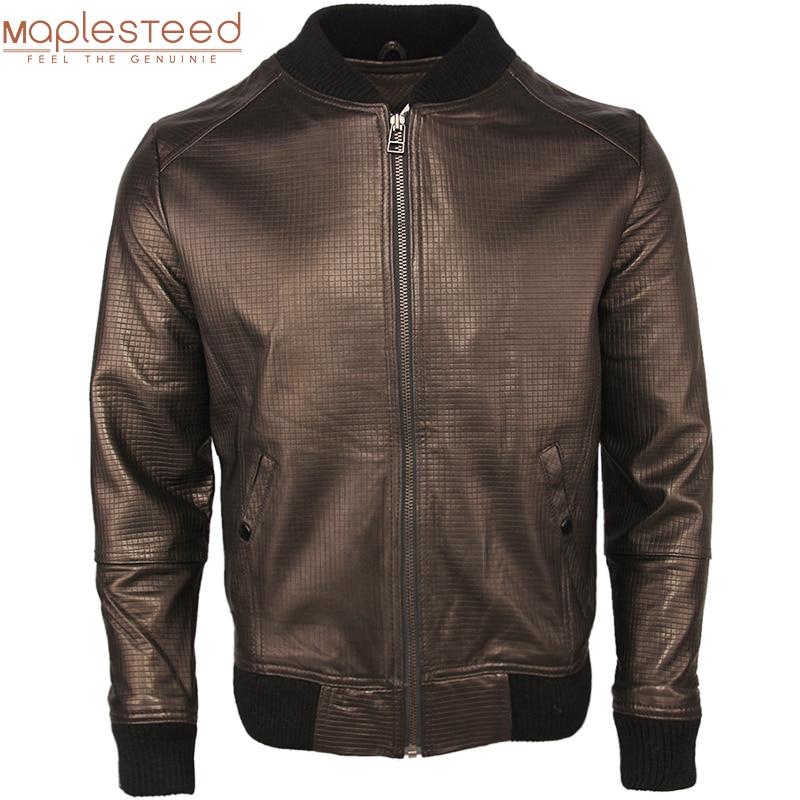 Clearance ! 100% Genuine Sheepskin Leather Jacket Men Casual Baseball Leather Coat Boy Real Skin Clothing Spring Autumn M500