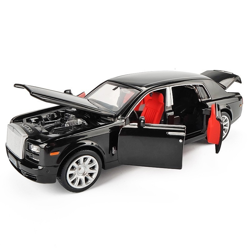 1/32 Rolls Royce Phantom Black Body Die-cast Alloy Sound And Light Back To Six Doors Shiny Children's Luxury Toy Car Model