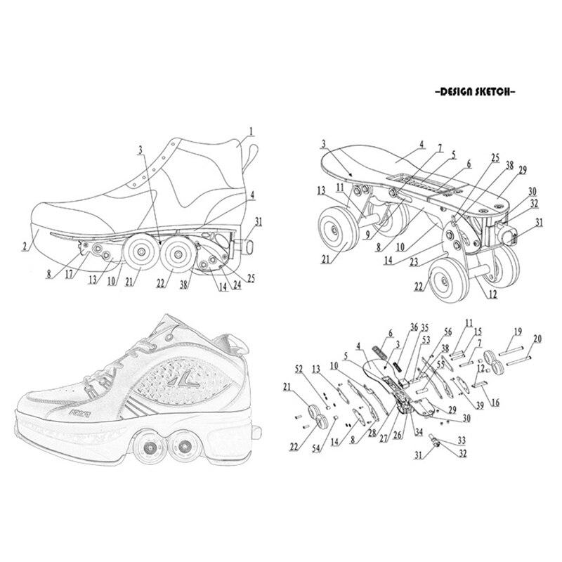 Déformer les patins à roulettes chaussures Double rangée Double roue chaussures de course automatique quatre roues Double usage Skateboard chaussures - 6