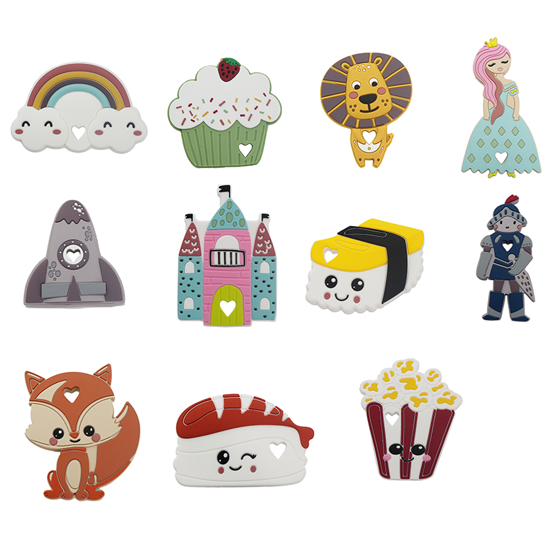 Chenkai 1pc Silicone Princess Soldier Lion Castle Rocket Sushi Rainbow Cake Fox Teething DIY Baby Dummy Necklace Accessory