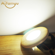 Ring Solid Wood Led Downlight 3W 5W 7W Recessed Lights LED Ceiling Spotlights Industrial Office Living Room Background Lamp