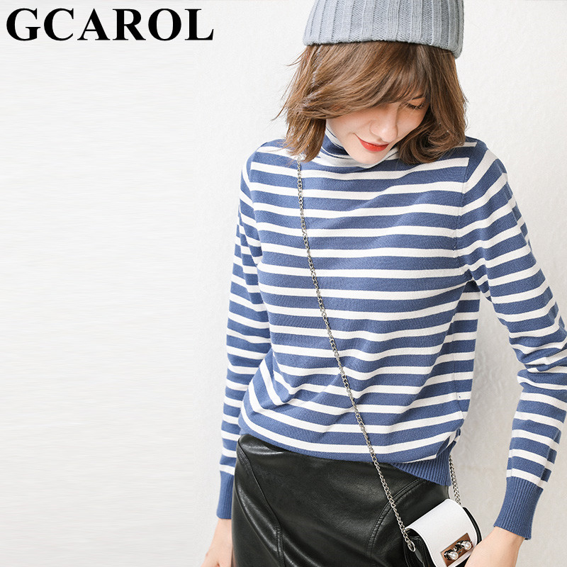 GCAROL New Women 30% Wool Sweater Stripes Turtleneck Knit Pullover Stretch Oversize Jumper Warm Base Render Knitted Tops S-3XL