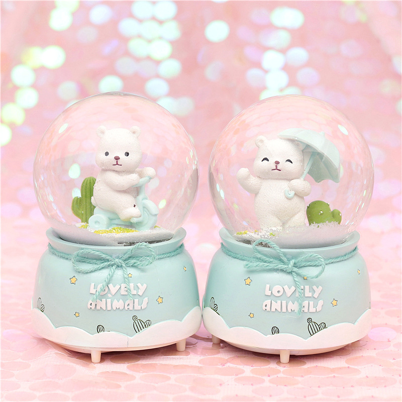 10*15.8cm Cute Bear Crystal Snow Globes <font><b>Glass</b></font> Music Box <font><b>snowball</b></font> Home Office INterior Decoration Christmas Valentine's Day Gifts image
