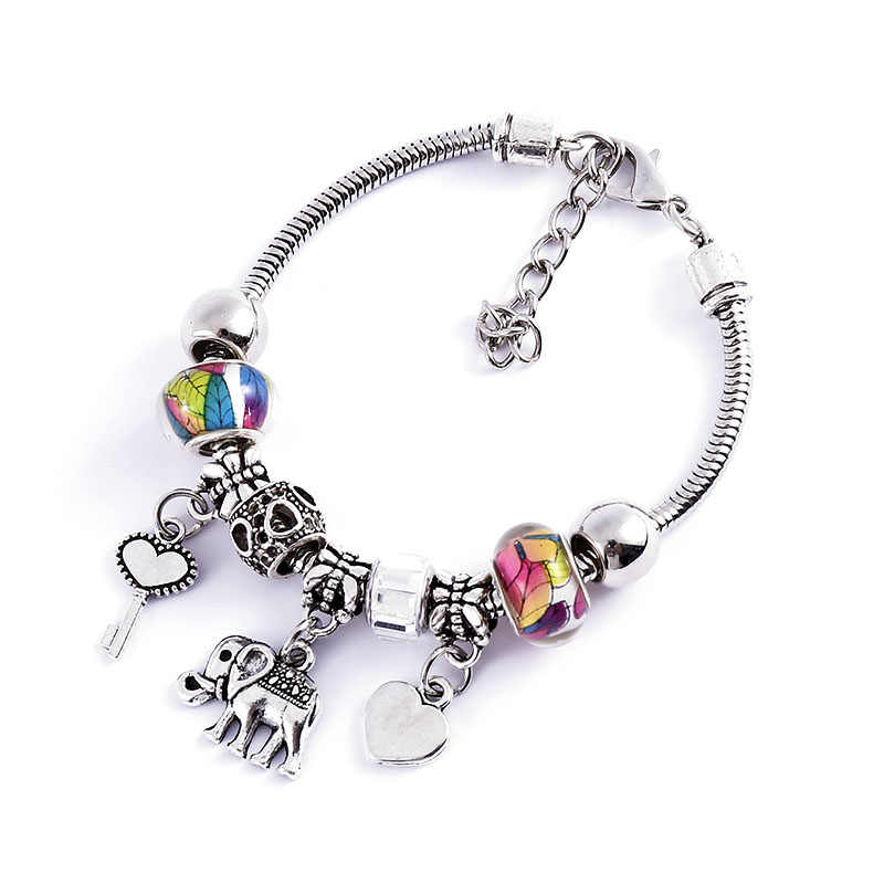 Colored beads initial bracelets for women Adjustable Bangle boho bracelet Charm pendant stainless steel jewelry wholesale