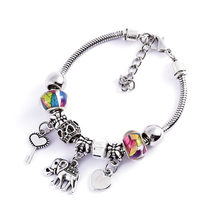 Colored beads initial bracelets for women Adjustable Bangle boho bracelet Charm pendant stainless steel jewelry wholesale(China)