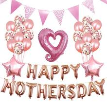 Balloons Free Ribbon Colored Flags Gift Hap Mothers Day Balloon Kits Letters Foil Decoration