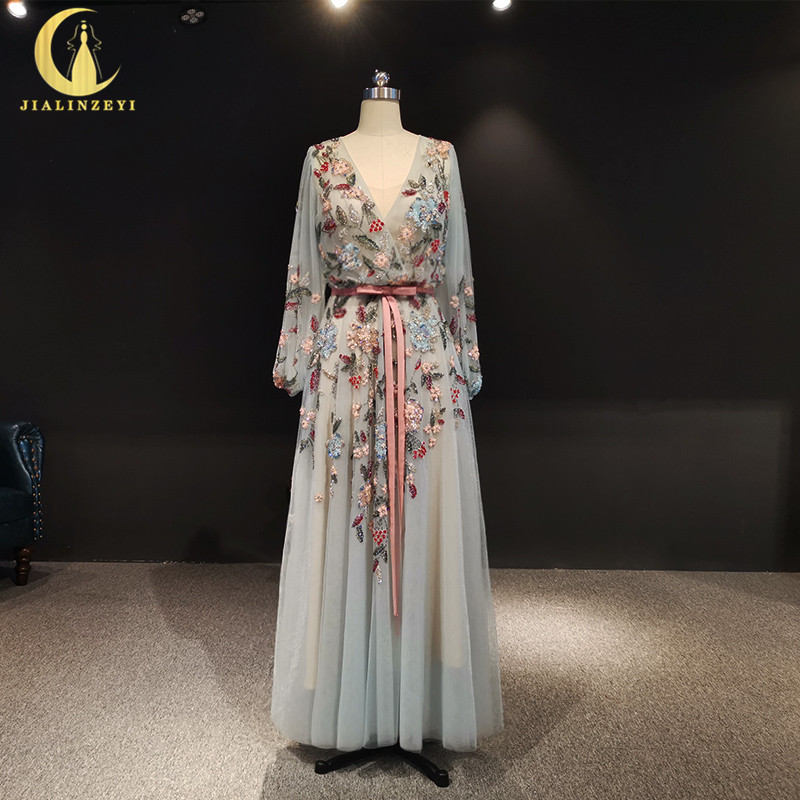 Rhine Real Pictures Marchesa Long Sleeves V Neck Colorful Beads Formal Dresses Arabic Evening Dresses Long