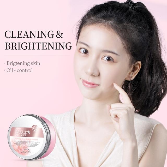 LAIKOU Sakura Mud Mask Deep Clean Whitening Remove Blackhead Hydrating Women Anti-Acne Face Skin Care Face Clay Mask Korean 4