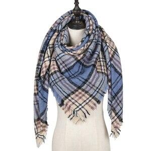 Image 1 - 2020 neue designer marke frauen kaschmir schal dreieck winter schals dame schals und wraps stricken decke neck striped foulard