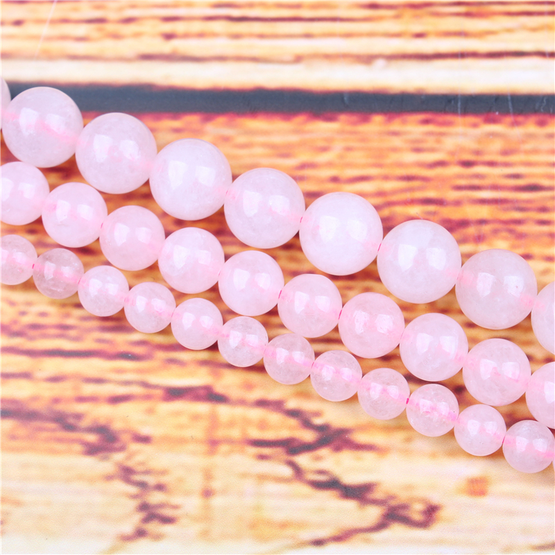 Pink Crystal Natural Stone Bead Round Loose Spaced Beads 15 Inch Strand 4/6/8 / 10mm For Jewelry Making DIY Bracelet Necklace