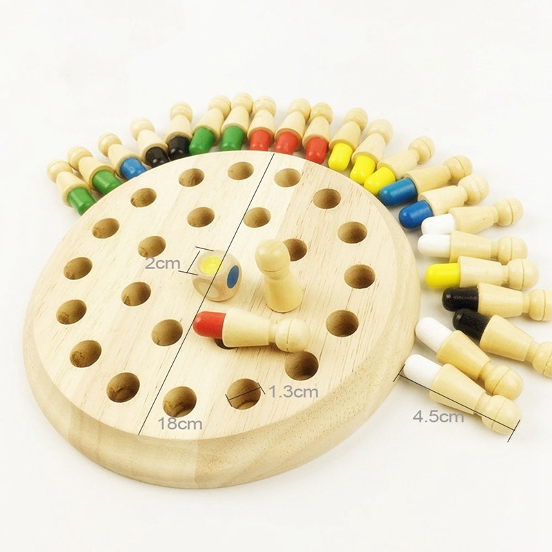 Wooden Memory Chess Set For Children, Block Board Game For Children, Educational Toy With Color Learning Ability For Children