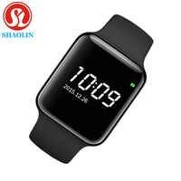 Montre intelligente série 4 pour Apple bracelet intelligent Tracker Fitness passomètre capteur de fréquence cardiaque Sport montres intelligentes (bouton rouge)